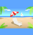 sunbed with umbrella on sandy beach in summertime vector image vector image