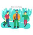 three modern business men vector image