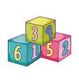 toys pile cube blocks building cartoon vector image