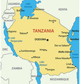 united republic tanzania - map vector image vector image
