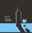 vodka bottle banner glass vodka on blue vector image vector image