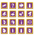 welding tools icons set purple square vector image vector image
