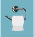white toilet paper roll and metal holder vector image vector image