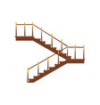 wooden interior staircases with handrails half vector image