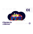 young couple watch movie in cinema with popcorn vector image vector image