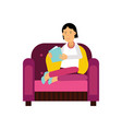 young woman sitting on a purple armchair and vector image vector image