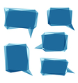 set of blue low polygon 3d abstract speech bubbles vector image
