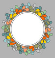 autumn laurel wreath frame on grey background vector image