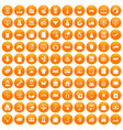 100 online shopping icons set orange vector image vector image