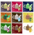 assembly flat shading style icons tea kettle and vector image vector image