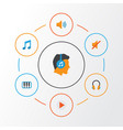 audio flat icons set collection of male tone vector image vector image