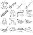 barbecue tools icons set outline style vector image