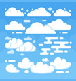 beautiful flat white clouds on blue sky background vector image