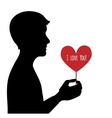 Black silhouette of man with heart in hand vector image