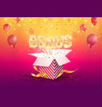 bonus banner flying off textured gift box on vector image vector image