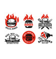 burger emblem on fire set for menu vector image vector image