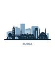 bursa skyline monochrome silhouette vector image vector image