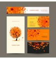 Business cards collection with autumn tree design vector image vector image