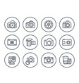 camera photography line icons set on white vector image vector image