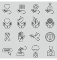 Charity and donation line icons set vector image
