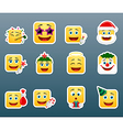 Christmas vacation smile stickers set vector image vector image