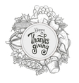 Circle shape template with Thanksgiving icons vector image