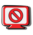 computer screen with prohibition sign drawn in vector image