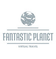 fantastic planet logo simple gray style vector image vector image