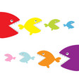 fish set eating each other food chain cute vector image vector image