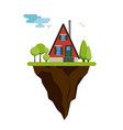 flying island with cartoon house vector image