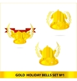glass gold bells set isolated vector image vector image