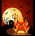 halloween background with devil and full moon vector image