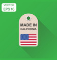 hang tag made in california with flag icon vector image vector image
