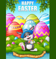 happy easter bunny wearing a hat carrying easter e vector image vector image