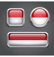 Indonesia flag glass buttons vector image