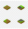 isometric road set of turning road subway and vector image vector image