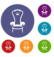 king throne chair icons set vector image vector image