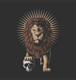 lion stepped on a human skull vector image vector image