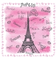 Love in ParisWatercolor decorlettering vector image