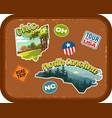 ohio north carolina travel stickers vector image vector image