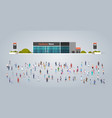 people group in front hardware store building vector image vector image