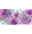 purple roses watercolor banner beautiful vector image vector image