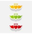 Realistic design element heart angel
