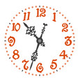 retro clock face with elegant clock hands vector image vector image
