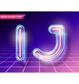 retro glass neon font vector image vector image