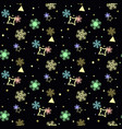 seamless winter pattern with colorful snowflakes vector image vector image