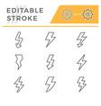 set editable stroke line icons lightning vector image vector image