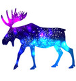 silhouette a moose with space galaxy background vector image