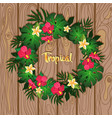 tropical wreath plants on wooden background vector image