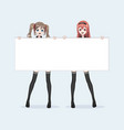 Two japanese asian woman hold a white billboard vector image